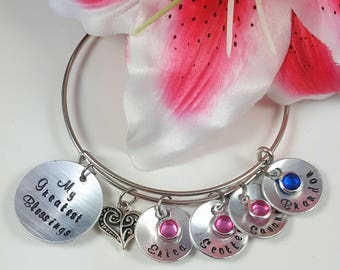 Mother's Day Gift Grandma Gift Mom Gift Grandmother Gift Bracelet Mother Gift Personalized Gift Custom Hand Stamped My Greatest Blessings