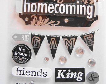 HOMECOMING, Friends, Dance, The KING and QUEEN, Soft Spoken, Dimensional Stickers, Scrapbooking, Cards,Crafts, Collage, Stationary, (SP16)