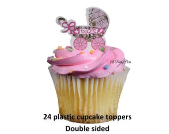 Pink Camo Baby Shower Cupcake Toppers, Its A Doe, Pink Camouflage  Decorations, Baby Carriage, Food Picks, Hunting, Its A Girl, Gender Reveal