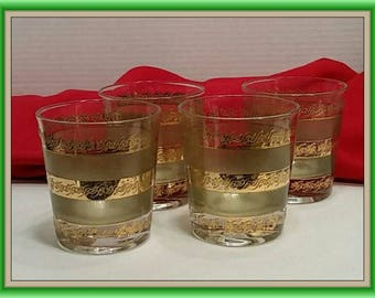 Culver Mid Century Green Gold  4 Starlyte Double Old Fashioned Glasses