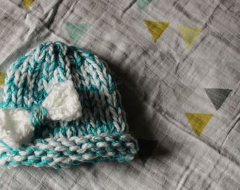 Blue and White Newborn Hat with White Bow