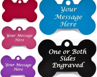 Engraved Anodised Aluminium Bone Shaped Pet Tags
