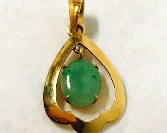 vintage genuine jade pendant 14k yellow gold stamped 585 14k