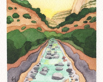 Mini Watercolor Painting Abstract Landscape Surreal Mountains Zion National Park - Jade