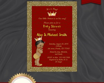 Prince Baby Shower Invitation, Little Prince, Royal Baby Shower Invitation, Baby Boy, African American, Red - Printable, Digital file, BBS05