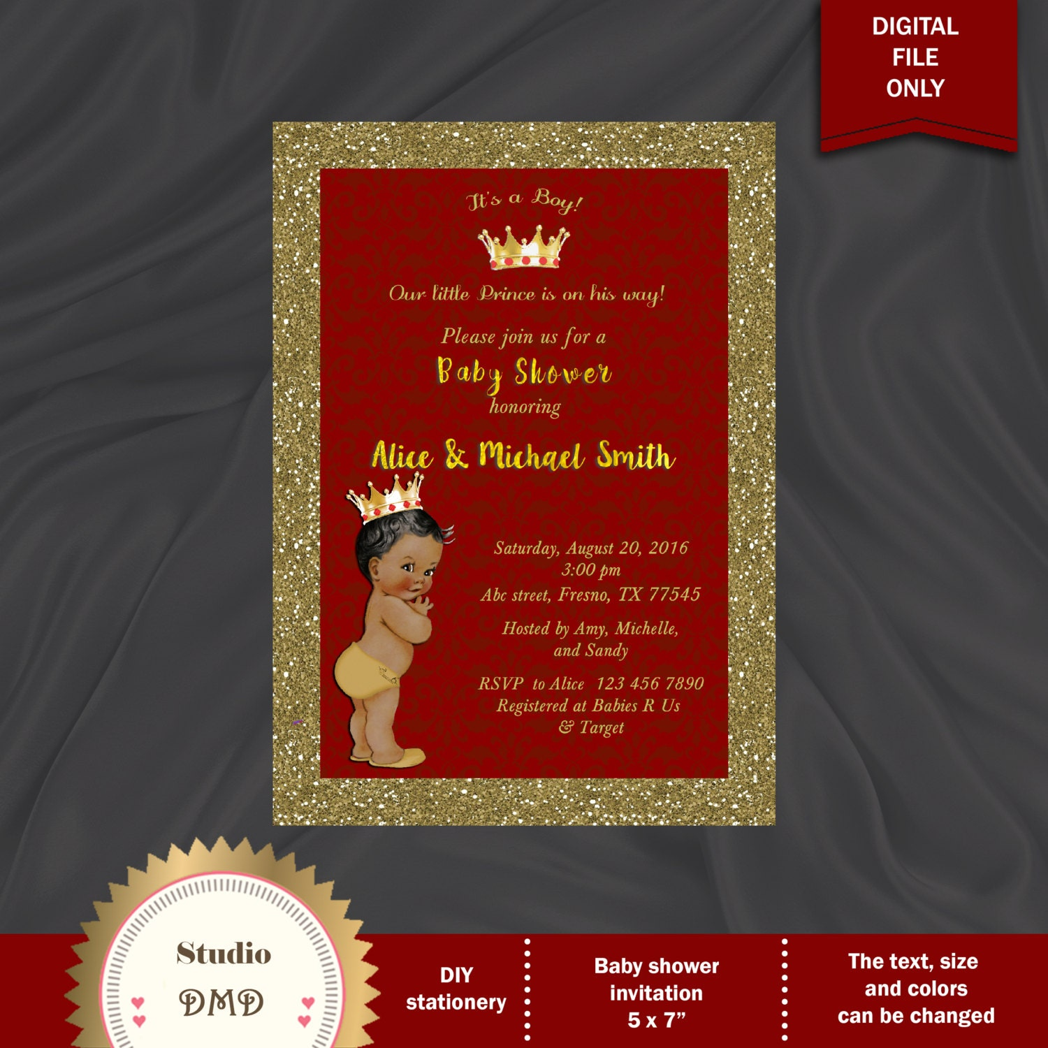 Modern baby boy prince shower invitations crest resume ideas prince baby shower invitation little prince royal baby filmwisefo