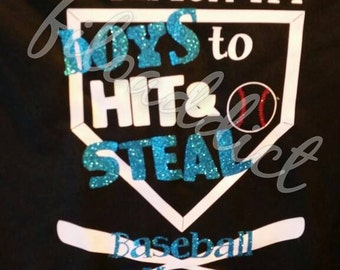 I teach my boys to hit and steal - Baseball Mom Women's V Neck T-Shirt