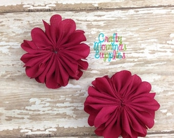 """ON SALE Set of 2 Mini Red Beauty Shimmer Satin Scallop Flowers 2"""", Ballerina, Petal, Supplies, Baby Headbands, Infant Headbands, Baby and To"""