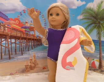 18 Inch Doll Purple One Piece Bathing Suit and Beach Towel, Hand Made Purple Swimsuit & Flamingo Beach Towel fits American Girl Dolls