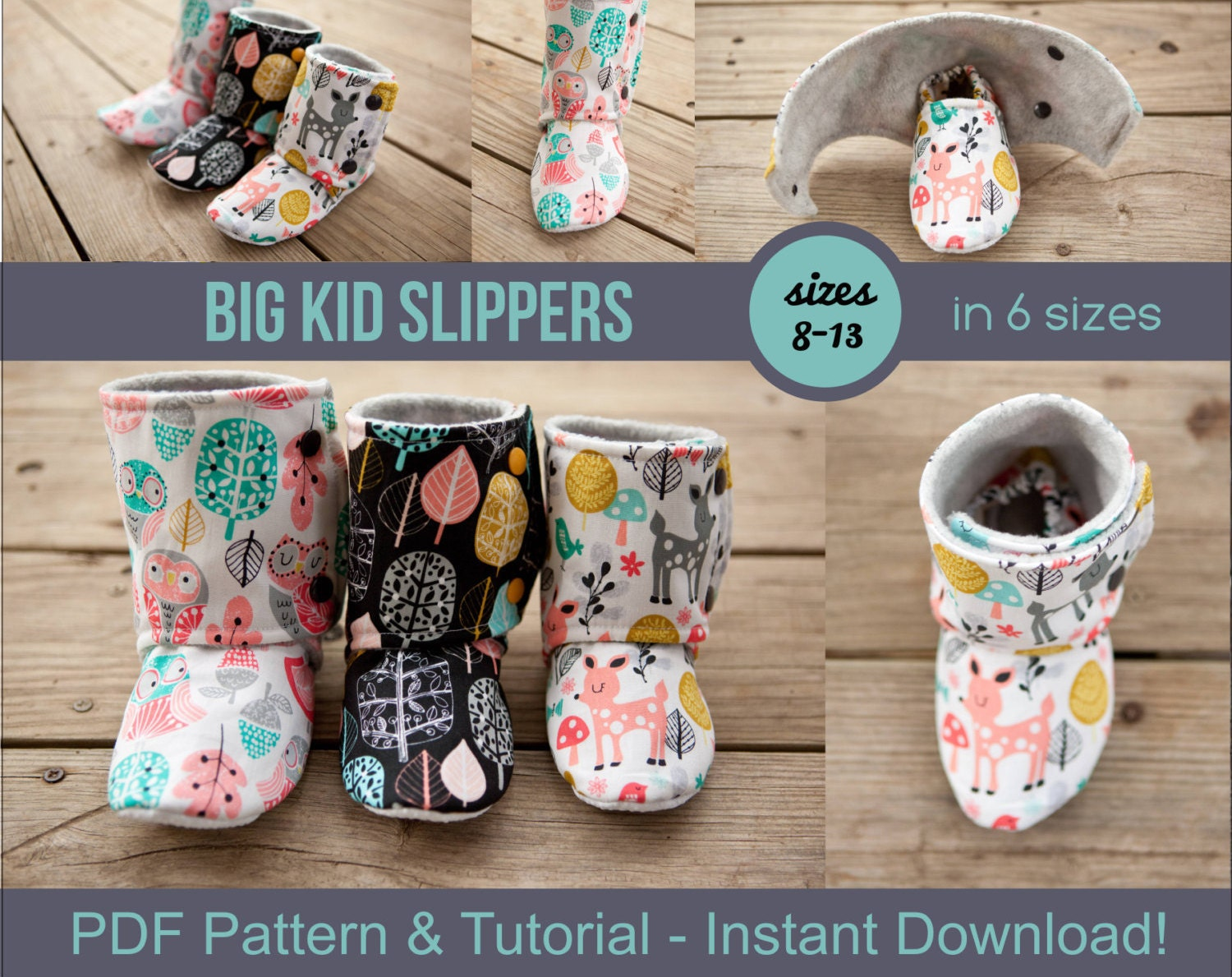 Big Kid Slipper Pattern pdf Sewing Pattern for Big Kids\'