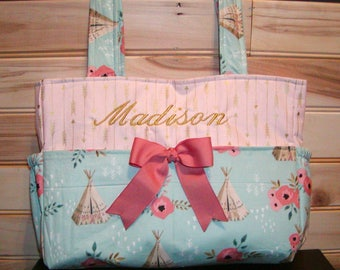 Diaper bag, handbag, purse..Teepees N Pink with Gold Arrows..With Name and Bow. You choose Color of buck and size. Add font in message.