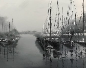 Black and white harbor painting with boats