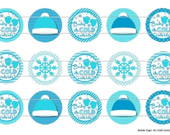 """15 It's Cold Outside 1 Digital Download for 1"""" Bottle Caps (4x6)"""