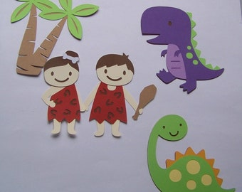 Cave boy, girl, and dino die cuts