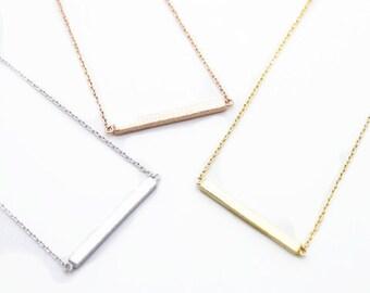 Tiny Slim Bar Necklace - Dainty, Simple, Birthday Gift, Wedding Bridesmaid Gift