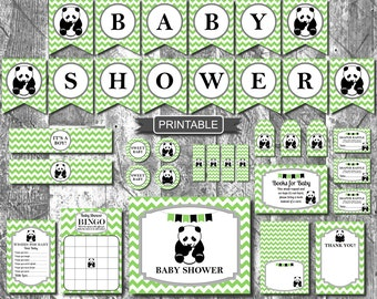 Green Panda Baby Shower Decorations Package Digital Printable PDF Instant Download Boy Baby Shower