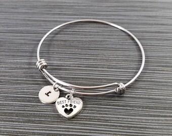 Dog Paw Bangle - Dog Charm Bracelet - Expandable Bangle - Open Paw Charm Bangle - Dog Bracelet - Initial Bracelet - Gifts Under 20