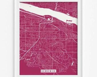 Kennewick Print, Washington Poster, Kennewick Poster, Kennewick Map, Washington Print, Washington Map, Street Map, Fathers Day