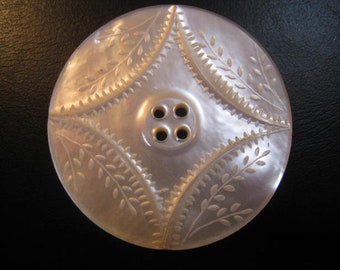 Large Antique Mother of pearl carved mother of Pearl button button mother of Pearl carved 43 mm