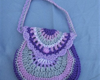 Child's Crocheted Shoulder Bag In Shades Of Lilac, Purple And Grey