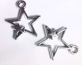Charms - Hollow star within a star - Lots of 2