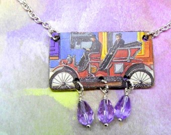 NEW: Vintage Car, Tin Pendant, Necklace, Tea Caddy, Cookie Can Upcycled, Jalopy, Free Shipping, Handcrafted by Bumbleberry Jewelry