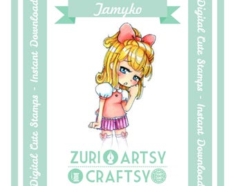 Digital Stamp, Tamiko, Scrapbooking Digital Stamp, Instant Download, Zuri Artsy Craftsy, Digi Stamp, Cardmaking, coloring page