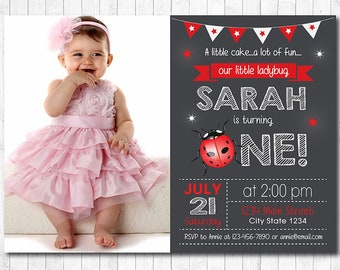 Ladybug Invitation, Ladybug Invite, 1st birthday, Ladybug birthday invitation, Ladybug Invite, photo invitation, printable