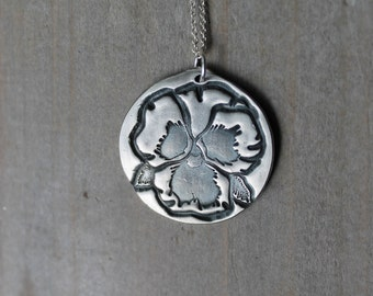 Pansy - flower fine silver oxidized pendant