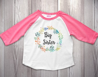 Big Sister Shirt Baby Announcement Shirt Girl Sibling Shirts Floral Flower Raglan Shirt Watercolor Design Cute Girls Big Sister Outfit