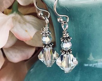Crystal earrings, aurora borealis earrings, drop earrings, dangle earrings, beaded earrings, clear earrings, wedding earrings, gift