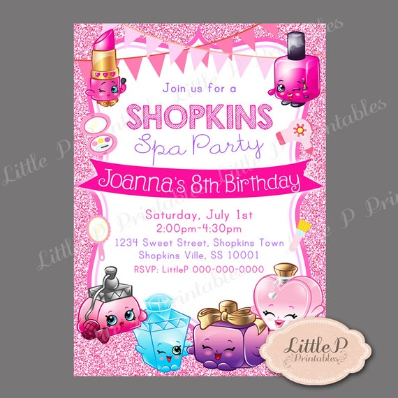 Shopkins invitation shopkins spa party pink glitter sparkle like this item stopboris Image collections