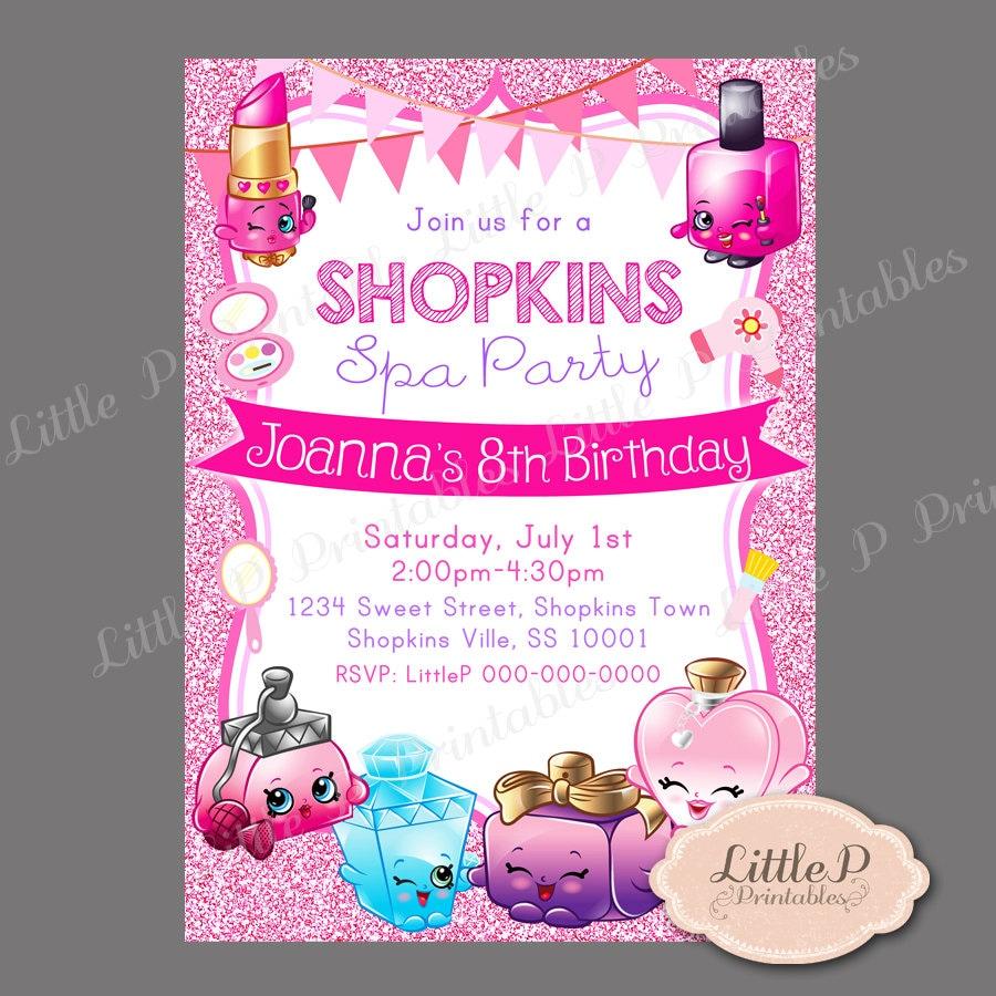 Shopkins Invitation. Shopkins Spa Party. Pink Glitter Sparkle