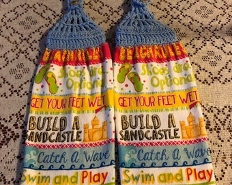 Sandcastle and beach theme handmade crochet top decorative kitchen towels set