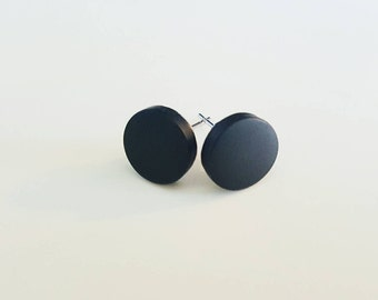 Round Flat Stud Earrings/Black Stud earrings/Mens Stud earrings/Hypoallergenic Stud Earrings