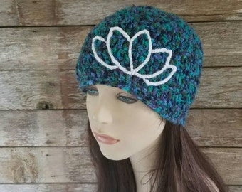 Bamboo Beanie with Lotus Flower, Women's Hat, Boho Clothing, Bohemian Hat, Hippie Hat, Purple, Teal, Green, Cream, Yoga,  MADE TO ORDER