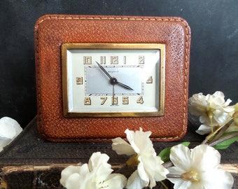 1952 Vintage Bayard Alarm Clock Leather. Mid Century Retro .