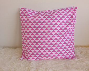 Cotton Cushion cover printed geometric - pink white fabric - 40 x 40 cm