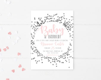 Baby Shower Invitation, Baby Shower Brunch, Brunch, Confetti, Pink, Baby Girl, Baby Shower Invitation Girl, Baby Shower, Brunch Invite [585]