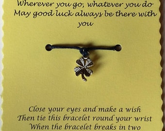 Good luck gift, Cord Wish Bracelet, Friendship bracelet, Charm bracelet, String Bracelet, Gift, Cord Bracelet, Keepsake, Good luck card