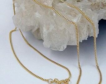 Curb Chain 45cm, 2x diamond, 9K GOLD