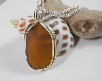 Golden Amber Seaglass Necklace for Man or Woman