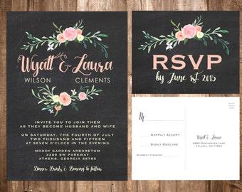 Wildflower Wedding Invitations; Chalkboard Wedding Invitations; Floral Wedding Invitations; Shabby Chic Wedding Invitations; Wildflowers
