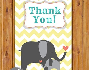 "Elephant Baby Shower Thank You Card Yellow Chevron Flat Card Print Your Own All Occasion 4""x6"" Digital Instant Download (ty-260)"