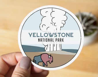 Yellowstone National Park Sticker - Digitally hand drawn - Vinyl Stickers, travel, nature enthusiast, cross country, backpacking, outdoors