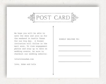 Printable Postcard Etsy - 5x7 postcard template for word
