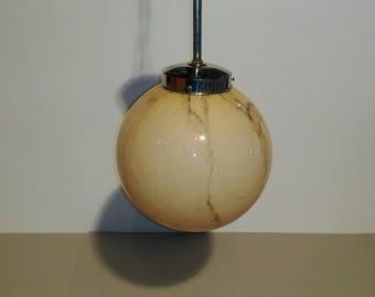 Vintage Pendant Lamp/Mid Century Glass Globe/Ceiling Lamp