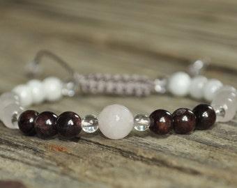 Rose Quartz, Moonstone, Garnet, Healing Bracelet, Crystal Healing, Meditation Bracelet, Yoga Bracelet, Fertility