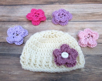 Baby Hat, Baby Girl Hat, Baby Flower Hat, Crochet Toddler Hat, Interchangeable Flowers, Newborn Girl Hat, Baby Girl Beanie, Infant Girl Hat