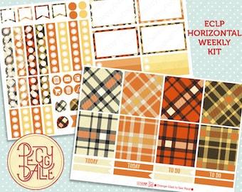 Orange glad to see Plaid Weekly Kit Planner Stickers | Erin Condren Horizontal |  ECLP | Tartan | College | Preppy